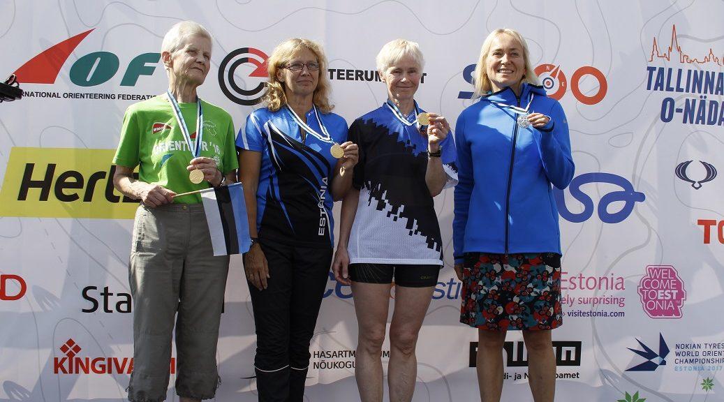 Vasakult medalivõitjad Ilse Uus, Airi Alnek, Marje Viirmann,  Kiriti Rebane. Foto Meeli-Heli Lepna